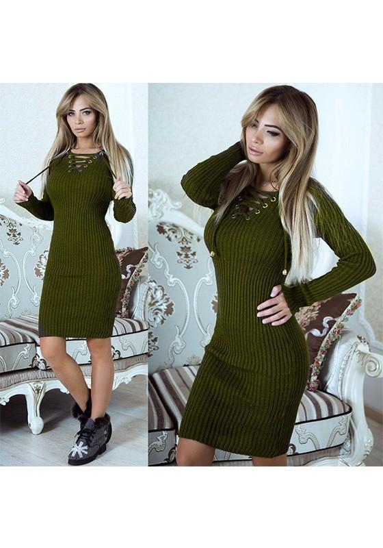Green Drawstring V-neck Long Sleeve Fashion Midi Dress