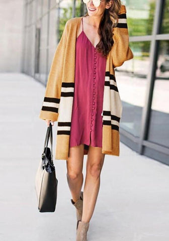 Yellow White Striped Color Block Fashion Oversize Cardigan Sweater