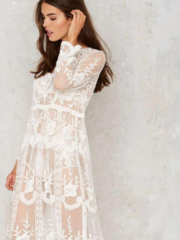 Lace Inwrought Beach Vacation Long Sleeve Mask Cover-ups Midi Dress