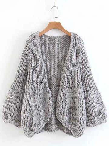 New Grey V-neck Long Sleeve Going out Cardigan Sweater