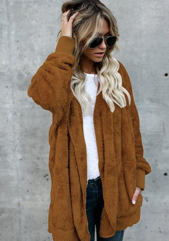 Brown Plain Pockets Hooded Long Sleeve Sweet Fur Coat