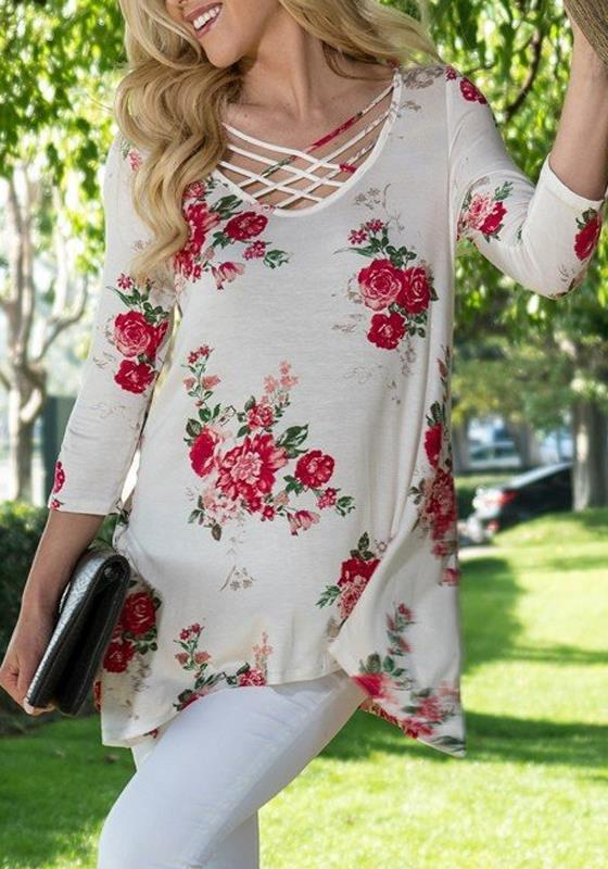 White Floral Cut Out Irregular V-neck 3/4 Sleeve Fashion Blouse