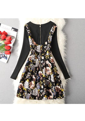 Black Floral Print Zipper Round Neck Sweet Midi Dress