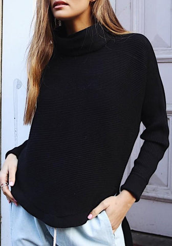 Black Irregular Draped Collar Long Sleeve Sweater Pullover