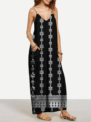 Beautiful Black Print Bohemia Spaghetti Straps V Neck Maxi Dress