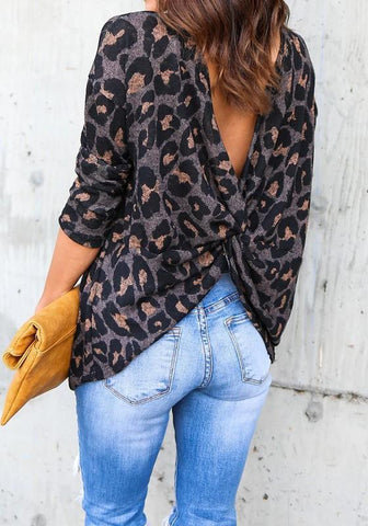 Purple Leopard Round Neck Long Sleeve Fashion T-Shirt