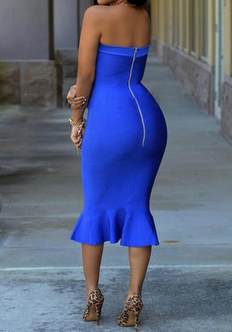 Blue Ruffle Bandeau Zipper Boat Neck Off Shoulder Mermaid Elegant Midi Dress