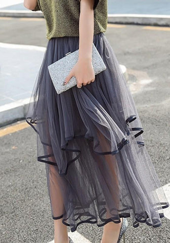 Grey Patchwork Irregular Pleated Grenadine High Waisted Cute Tutu Skirt