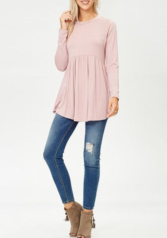 Pink Irregular Draped Round Neck Long Sleeve Fashion Loose T-Shirt