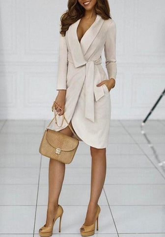 Apricot Pockets Sashes Turndown Collar Long Sleeve Fashion Trench Coat