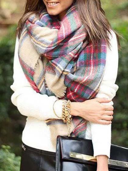Women's Fashion Soft Multicolor Plaid Raw Edge Scarf
