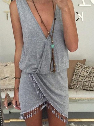 Sexy V neck Solid Color Tassels Dress