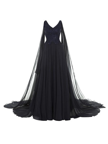 Cape Sleeves Floor Evening Dress