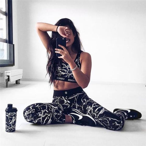 Black Monogram Print Two Piece High Waisted Sports Long Jumpsuit