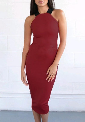 Burgundy Cross Back Open Back Off-Shoulder Bodycon Clubwear Midi Dress
