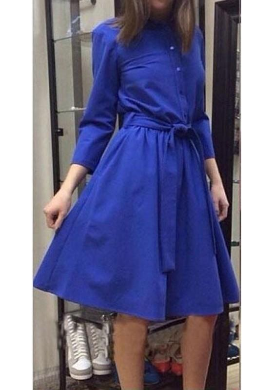 Blue Pleated Belt Single Breasted Long Sleeve Fashion Midi Dress