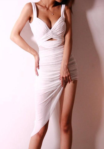 White Plain Irregular Grenadine V-neck Midi Dress