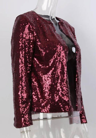 Dark Red Patchwork Sequin Draped Long Sleeve Fashion Outerwear
