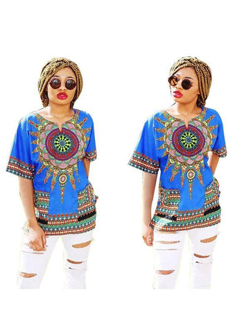 Blue Tribal Floral Print Round Neck Short Sleeve Oversized Vintage T-Shirt