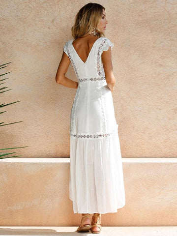 Pretty Asymmetry Hollow V Neck V-back Midi Dresses