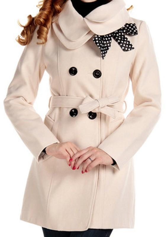 White Pockets Bow Belt Turndown Collar Long Sleeve Cardigan Coat