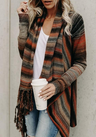 Orange Striped Print Tassel Irregular Round Neck Fashion Cardigan Sweater