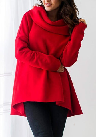 Red Plain Irregular Casual Cardigan Hooded Sweatshirt