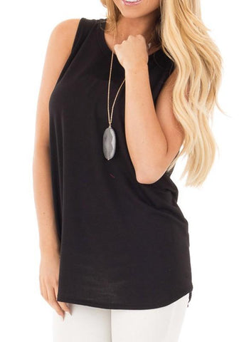 Black Irregular High-low Backless Round Neck Casual Vest