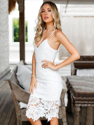 White Lace Condole Belt Mini Dress