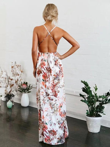 Printed Backless Split-side Bohemia Dress