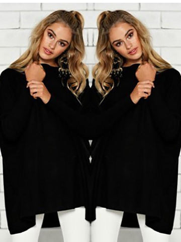 New Black Plain Irregular Round Neck Long Sleeve Casual T-Shirt