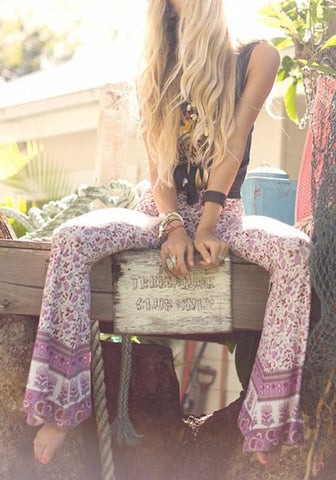 Pink Tribal Floral Print High Waisted Bohemian Bell Bottom Flare Long Pants