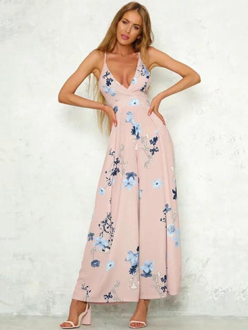 Beautiful Floral V-Neck Backless Wide Leg Long Jumpsuits