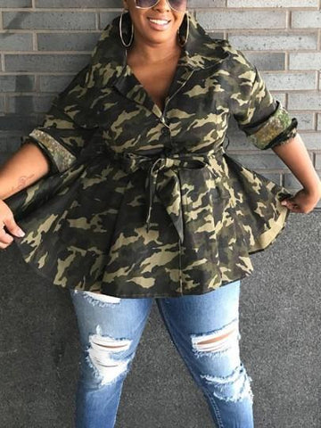 Camouflage Patchwork Sequin Pockets Drawstring Buttons Ruffle Peplum High-Low Long Sleeve Casual Outerwear