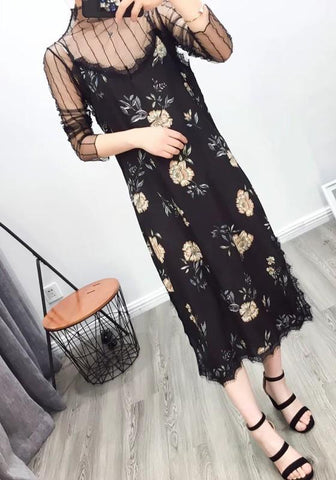 Black Floral Print Lace Condole Belt V-neck Sleeveless Midi Dress