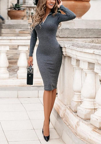 Grey Plain Zipper V-neck Fashion Midi Dress