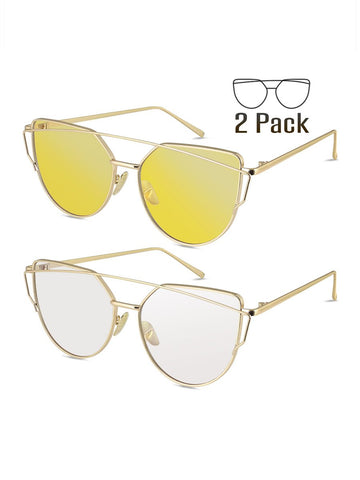 Two Pieces Fashion Ultra-violet Ray Intercepting Cat-eye Sunglasses