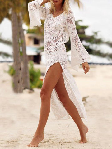 Flared Sleeves Backless Beach Cover-Up