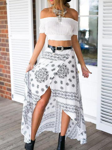 Beautiful Bohemia Floral Front Split Long Skirt Bottoms