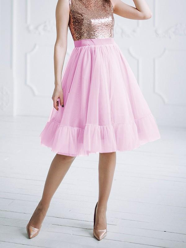 New Pink Patchwork Grenadine Pleated Plus Size High Waisted Tutu Cute Homecoming Party Skirt