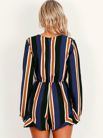 Classical Stripe Long Sleeve Deep V Neck Short Jumpsuit