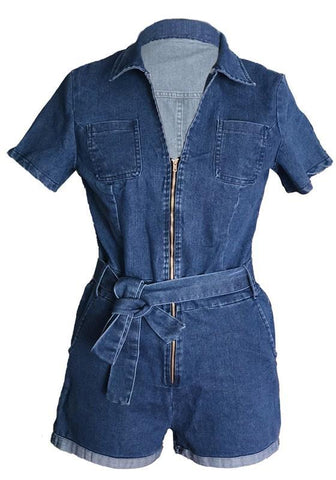 Dark Blue Sashes Zipper V-neck Pockets High Waisted Bodycon Casual Short Jumpsuit