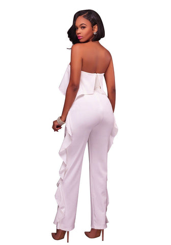White Bandeau Ruffle Zipper Backless Off Shoulder Fashion Long Jumpsuit
