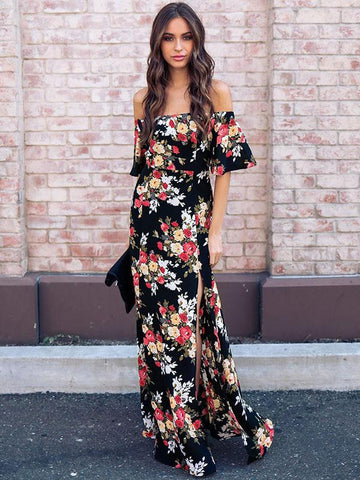 Bohemia Floral Off shoulder Split-side Maxi Dress
