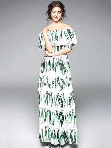 Elegant Split-joint Falbala Sleeves Maxi Dress