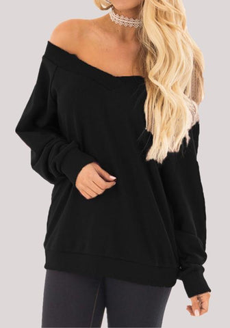 Black Off Shoulder Backless Casual Going out Pullover Sweatshirt