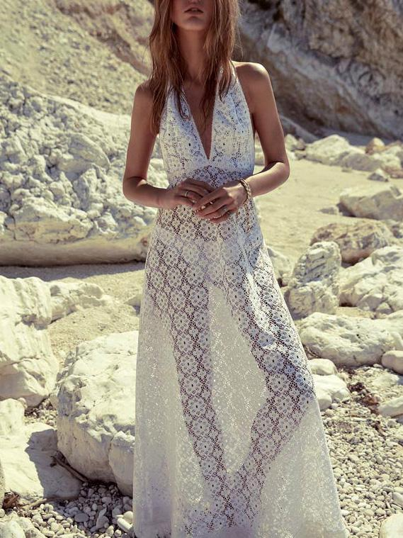 Lace Halter Neck Backless Cover-ups Swimwear