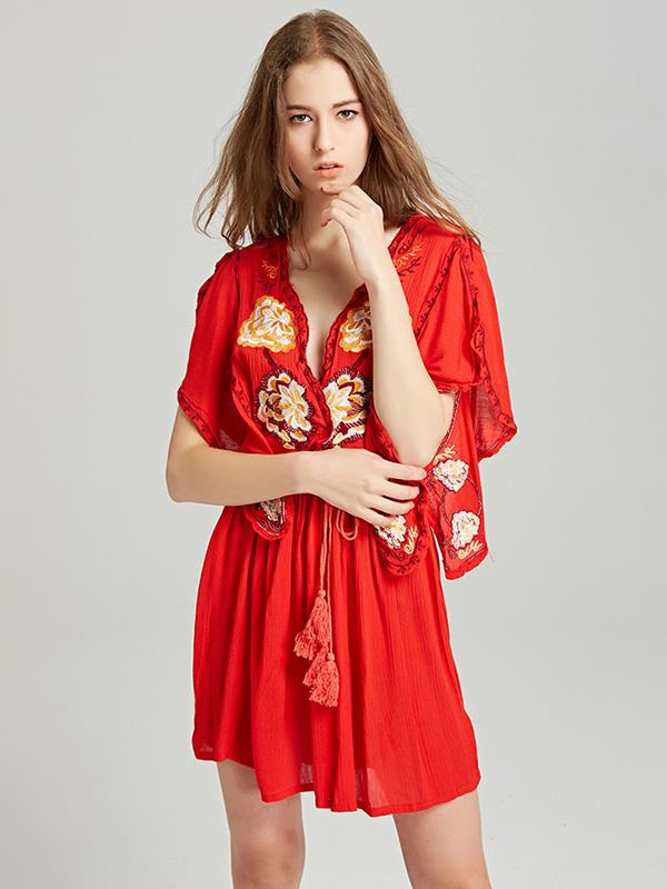 Embroidered Deep V-neck Mini Dress