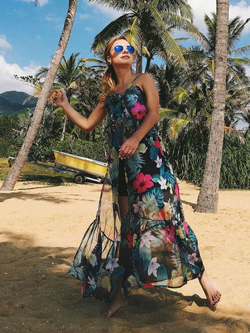 Pretty Floral Long Cover-Up Maxi Dress