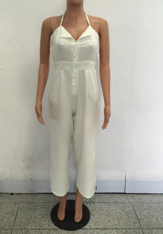 White Single Breasted Tie Back Backless Nine's Long Jumpsuit